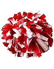 Par de pompones de animadora de plástico con agarradera, Rot/ Weiß