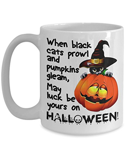 Black Cat Pumpkin Halloween White Ceramic Coffee Mug