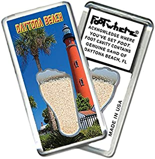 "product image for Daytona Beach""FootWhere"" Magnet (DY205 - Lighthouse). Authentic destination souvenir acknowledging where you've set foot. Genuine soil of featured location encased inside foot cavity. Made in USA"