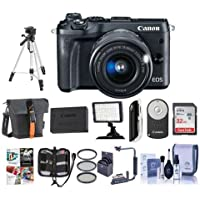 Canon EOS M6 Mirrorless Digital Camera Black Kit with EF-M 15-45mm f/3.5-6.3 IS STM Lens - Bundle with Holster Case, 32GB SDHC Card, Spare Battery, Tripod, Video Light, Software Package and More
