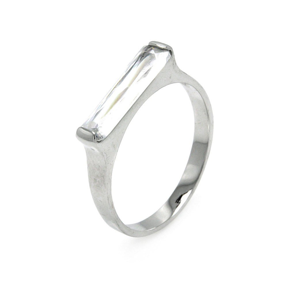 Princess Kylie Long Clear Cubic Zirconia Bar Ring Rhodium Plated Sterling Silver