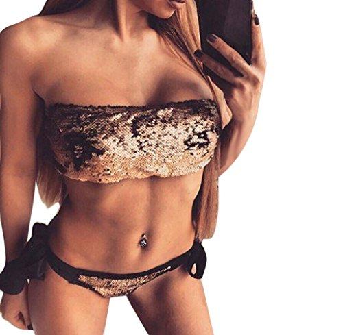 Tongshi 1Set Halter Traje de Baño Bandage Traje Bling Lentejuelas Ttraje de Baño Bikini Oro