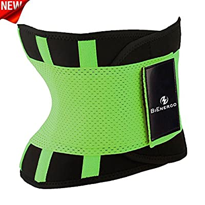 BiEnergo Waist Trainer for Women and Men - Slimming Body Shaper Compression Band for Weight Loss Workout- Back Support Belt