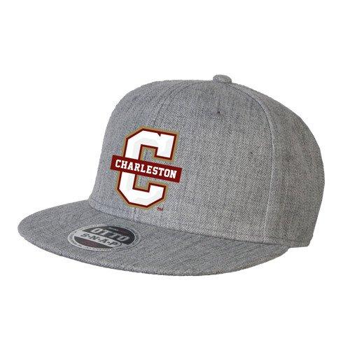 College of Charlestonヘザーグレーウールブレンドフラットビルスナップバック帽子'公式ロゴ – Cチャールストン'   B015T3DVTE