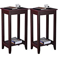 Youzee Set of 2 Sturdy Coffee Tall End Table Nightstand Accent Furniture, Brown(US Stock)