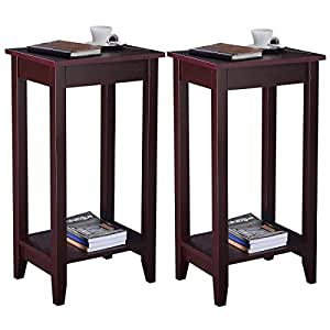 kitchen accent furniture amazon com youzee set of 2 sturdy coffee tall end table nightstand accent furniture brown us 6888