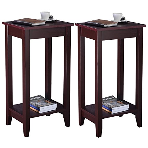 New Brown Set of 2 Tall End Table Coffee Stand Night Side Accent Furniture by totoshoptable