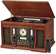 Victrola Aviator 8-in-1 Bluetooth Record Player & Multimedia Center with Built-in Stereo Speakers - 3-Spee