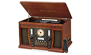 Victrola Nostalgic Aviator Wood 7-in-1 Bluetooth Turntable Entertainment Center, Mahogany (VTA-750B)