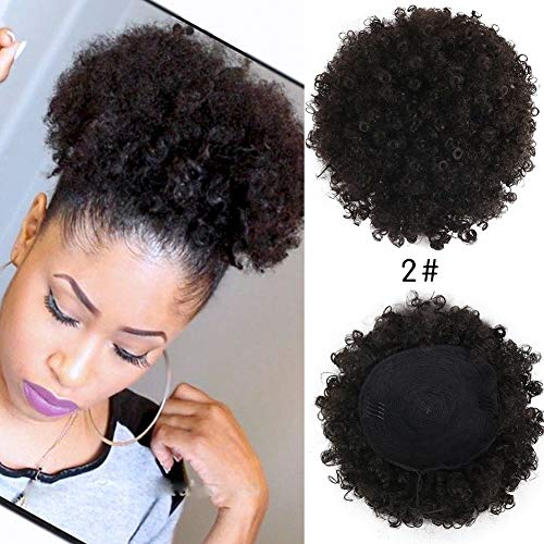 Deyngs Ponytail African American Short Afro Kinky Curly Wrap Synthetic Drawstring Puff Ponytail (2#)
