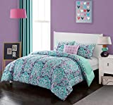 Purple and Teal Twin Bedding Floral Teal Blue Aqua Twin Comforter Set,Pink Purple Twin XL Bedding Comforter,Damask Female Luxury Decorative Paisley All Over Print Medallion Beautiful Elegant Soft Dorm Green Reversible Blossoms