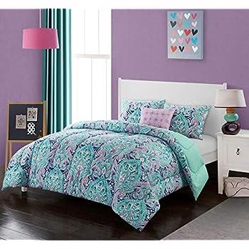 Amazon Com Floral Teal Blue Aqua Twin Comforter Set Pink