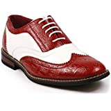 Parrazo Men's Two Tone Wing Tip Perforated Lace Up Oxford Dress Shoes