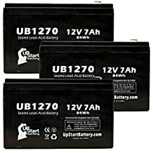 3x Pack - APC BACK-UPS RS 800VA 230V INDIA BR800-IN Battery - Replacement UB1270 Universal Sealed Lead Acid Battery (12V, 7Ah, 7000mAh, F1 Terminal, AGM, SLA) - Includes 6 F1 to F2 Terminal Adapters