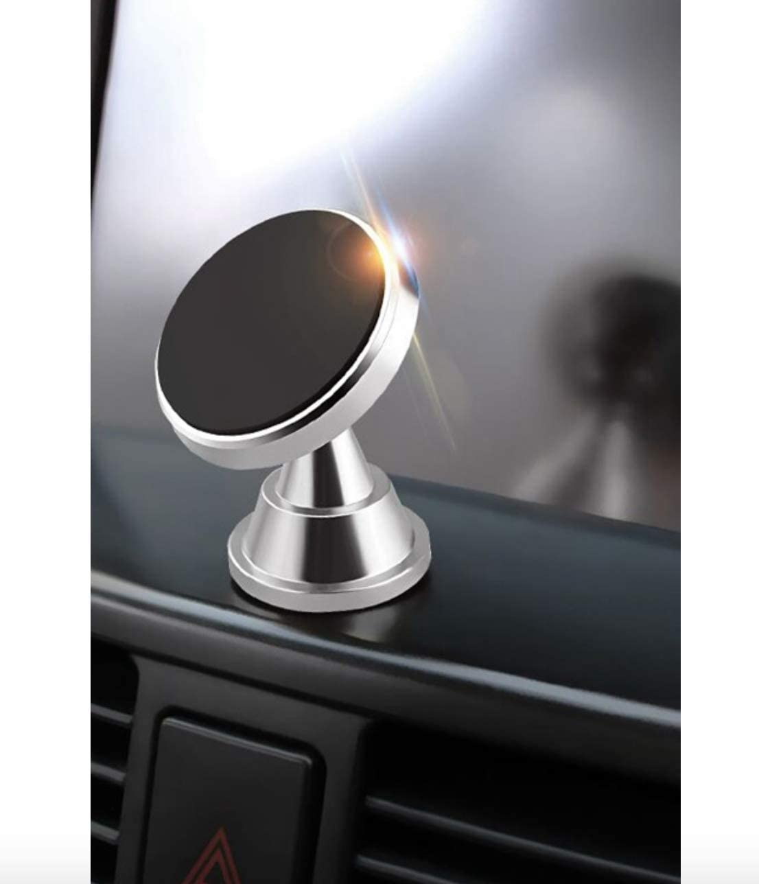 Compatible with All Devices Dark Silver//Grey 360/° Car Magnetic Phone Holder Aluminum Stand Universal Car Mount for Mobile Phone