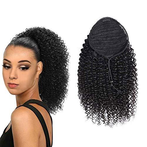Ponytail Extension Human Hair Afro Natural Black Kinky Curly Ponytail Human Hair Brazilian Virgin Hair Drawstring Ponytail for Black Women Afro Kinky Curly Hair Extensions(14 Inches) (Best Shampoo For Natural Afro Hair)