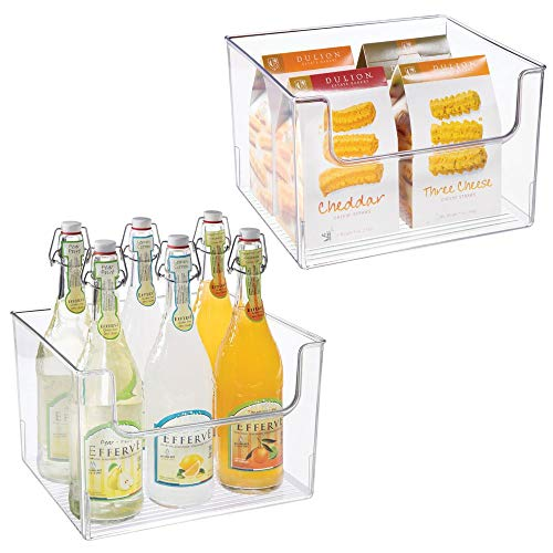 (mDesign Plastic Open Front Food Storage Bin for Kitchen Cabinet, Pantry, Shelf, Fridge/Freezer - Organizer for Fruit, Potatoes, Onions, Drinks, Snacks, Pasta - 12