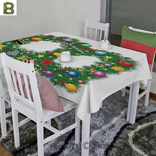 AngelSept Indoor/Outdoor Spillproof Tablecloth Velour Hemp by Tasty Candy Cane and Figure with Top Hat Suit Christmas Tree Design with B Print(52