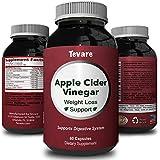 Best Apple Cider Vinegar Capsules - Pure Natural Weight Loss Supplement - Detox & Digestion Support - Boosts Metabolism + Reduces Appetite - Apple Cider Vinegar Pills for Men & Women - By Tevare