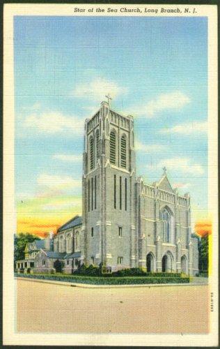 Star of the Sea Church Long Branch NJ postcard 1940s (Star Of The Sea Church Long Branch)