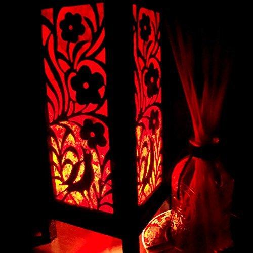 Fire Bird Red Black Paper Handmade Asian Oriental Wood Light Night Lamp Shade Table Desk Art Gift Home Vintage Bedroom Bedside Garden Living Room; Free Adapter; a Us 2 Pin Plug #518