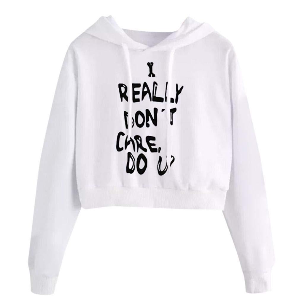 Opeer Hoodie Womens Letters Long Sleeve Hoodie Sweatshirt Pullover Tops Blouse (Size:XL(US:12), White)