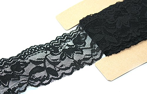 Stretch Lace Elastic - 10 Yards - 2 Inch Wide - Trim Lace for Headbands Garters (Black) - Lace Trim Garter