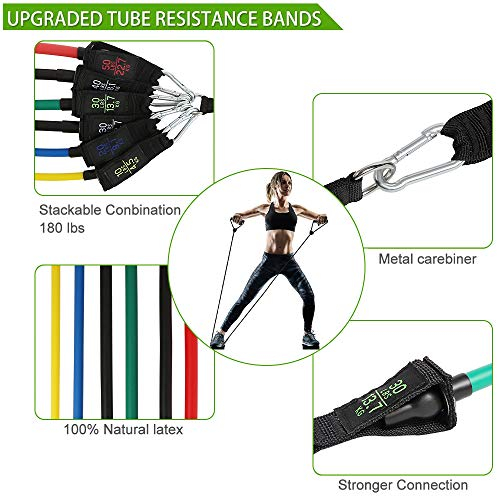 Fitness Resistance Bands Set 18Pcs - 6 Piece Exercise Bands - Portable Home Gym Accessories -Up to 180 lbs- Strength Training Equipment Perfect Muscle Builder for Arms, Back, Leg, Chest, Belly, Glutes