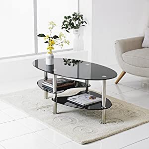 Neotechs® Modern Black Glass U0026 Chrome Oval Living Room Coffee Table With 2  Shelves Part 69