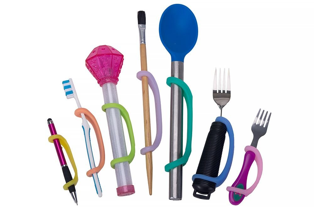 EazyHold Therapist/Teacher Grip Assist (7 Pack) Daily Living Eating Aids for Special Needs- Universal Cuff- Adaptive Utensils - Occupational Therapy Tools - Special Education Supplies