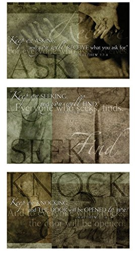 Products Ask Seek Knock Wrapped Canvas Wall Decor, 30 x 16 ()