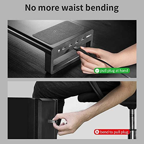 VAYDEER USB3.0 WIRELESS CHARGING ALUMINUM MONITOR STAND RISER SUPPORT TRANSFER DATA AND CHARGING,KEYBOARD AND MOUSE STORAGE DESK ORGANIZER UP TO 27INCH FOR COMPUTER MACBOOK PC (BLACK)