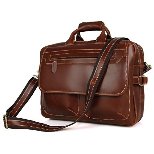 Berchirly Mens Real Leather Messenger Shoulder Bag Business Briefcase 15 inch Laptop Computer Bag For Travel Brown Red by Berchirly