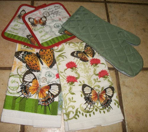 UPC 028332529792, Pretty Butterfly Dish Towels and Butterfly Pot Holders