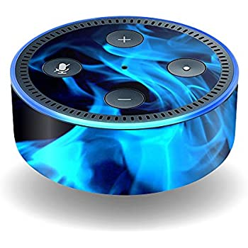 MightySkins Skin For Amazon Echo Dot (2nd Gen) - Blue Flames | Protective, Durable, and Unique Vinyl Decal wrap cover | Easy To Apply, Remove, ...