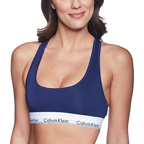 Calvin Klein Women's Regular Modern Cotton Bralette, Coastal (F3785-401) / White/Black, Small ()