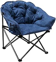 KHORE Oversized Folding Camping Moon Saucer Chair Supports 380 LBS with Cup Holder and Carry Bag