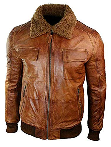 Fur Collar Bomber - New B3 Bomber Fur Collar Aviator Lambskin Winter Leather Jacket (Small Jacket Chest 44