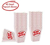 popcorn bags or boxes - Movie Theater Small Popcorn Boxes - Paper Popcorn Boxes Striped Red and White - Great for movie night or movie party theme, theater themed decorations or Carnival party circus etc. (40 Boxes)