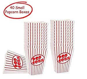 Movie Theater Small Popcorn Boxes - Paper Popcorn Boxes Striped Red and White - Great for movie night or movie party theme, theater themed decorations or Carnival party circus etc. (40 Boxes)