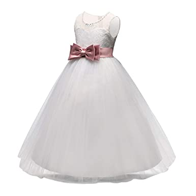 8d612b177ff10e Amazon.com: Yuntown Girls Party Wedding Dress - Bowknot Lace Tulle Princess  3-14 Years: Clothing