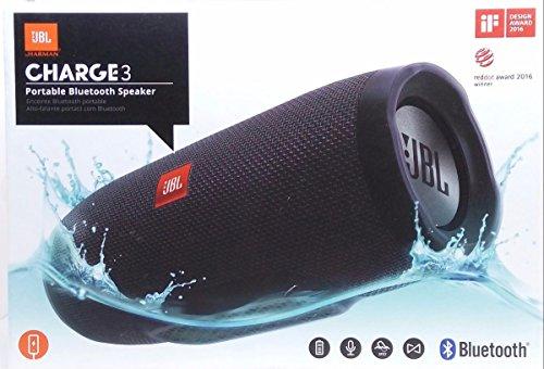 Blue JBL Charge 3 Waterproof Bluetooth Speaker Renewed