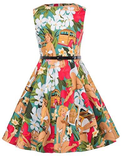 (Retro Floral Knee-Length Summer Garden Party Dresses 11-12yrs)