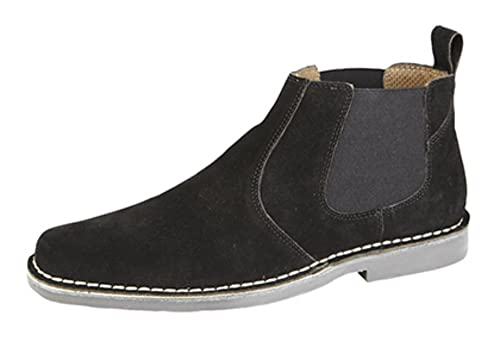 Roamers Mens Twin Gusset Suede Leather Chelsea Boots Black, Brown or Taupe