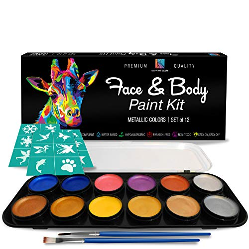 Face and Body Paint Kit, 12 Metallic Colors with Bonus Flat and Detail Paint Brushes, Comes with 30 Design Stencils, Non Toxic, Water Based and Easy On, Easy Off, FDA Compliant by Crafts & Colors