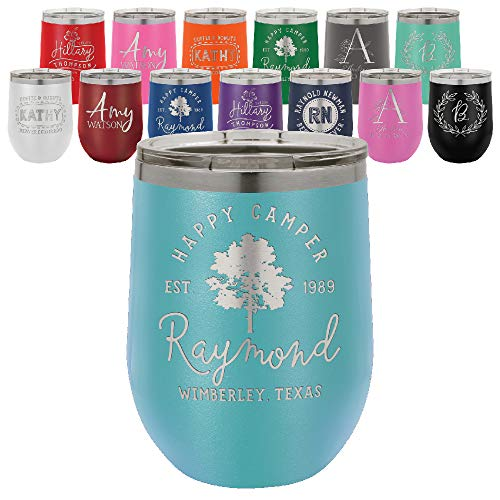 Personalized Wine Glass, Earth Stainless Steel Tumbler (12 oz.) Walled Insulated Wine Cup for Travel, Work, Gym, Fitness | Hot and Cold Drink Use - Sky Blue