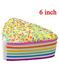 WATINC 1 pcs 6 inch JUMBO Kawaii Rainbow Cake Squishy Cream Scented Slow Rising large Kawaii Squishy Charms, Hand Pillow Toy, Stress Relief Toy Toy hop props, decorative props Large(Rainbow Cake) BOBEBE Online Baby Store From New York to Miami and Los Angeles