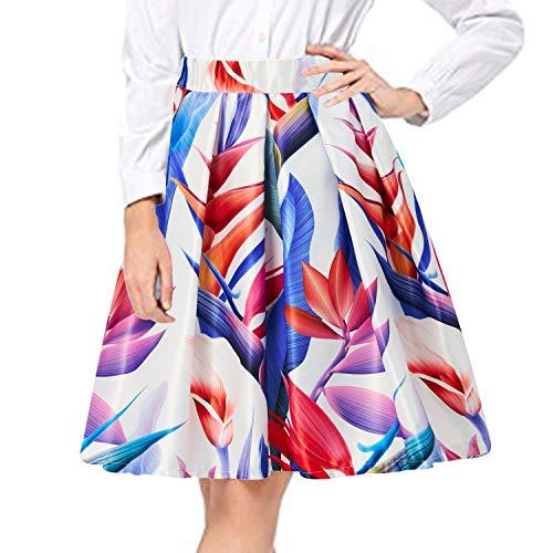 Lunghezza Alta A Vintage Floreale Donna ginocchio Line del Vita Vestiti Gonne Leaf Alistyle A Colorful Pieghe tXw8xqXBf