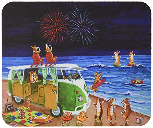 carolines-treasures-corgi-beach-party-volkswagon-bus-fireworks-mouse-pad-hot-pad-trivet-7317mp