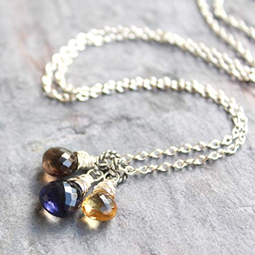 (Citrine Smoky Quartz Iolite Necklace Sterling Silver Multi Stone Blue Honey Brown 18